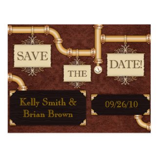Steampunk Save-The-Date Postcard