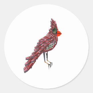 Steampunk Science Fiction Cardinal Cadillac Bird Classic Round Sticker