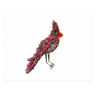 Steampunk Science Fiction Cardinal Cadillac Bird Postcard