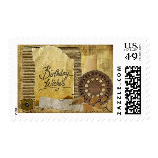 Steampunk Scrap Book Birthday Wishes Stamp