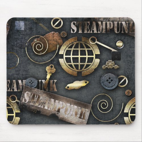 Steampunk, scrapbooking mouse pad