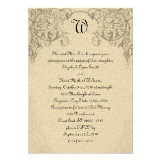 Steampunk Scroll Monogram Wedding Invitation