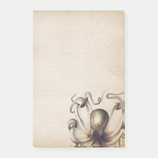 Steampunk Sea Octopus Muted Tan Travelogue Theme Post-it Notes