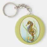 Steampunk Seahorse Basic Round Button Keychain
