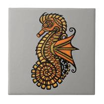 Steampunk Seahorse Ceramic Tile