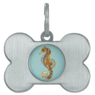 Steampunk Seahorse Pet Name Tag