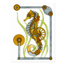 Steampunk Seahorse Postcard