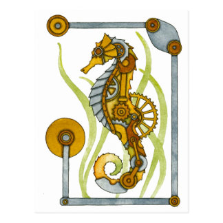 Steampunk Seahorse Post Cards