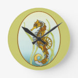 Steampunk Seahorse Round Clocks