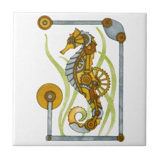 Steampunk Seahorse Small Square Tile