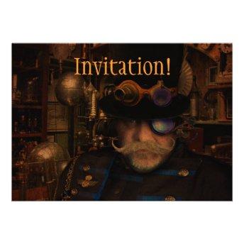 Steampunk Sean Personalized Invites