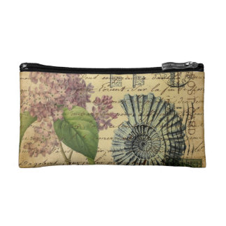 steampunk seashell modern vintage French Lilacs Cosmetic Bag