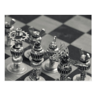 Steampunk Silver Chess Figure Pieces Postcard