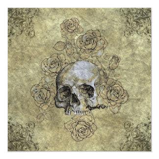 Steampunk Skull and Roses Goth Wedding Card