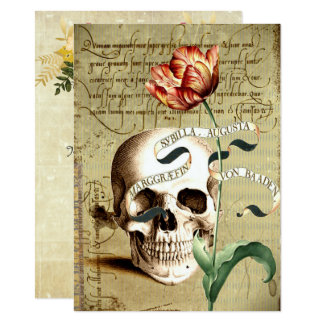 "Steampunk Skull Floral Halloween 4.5"" x 6.25"" Card"
