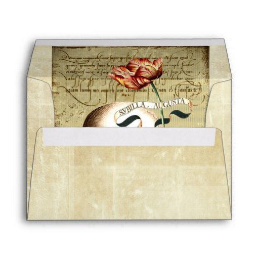 Steampunk Skull Floral Halloween A7 Envelope