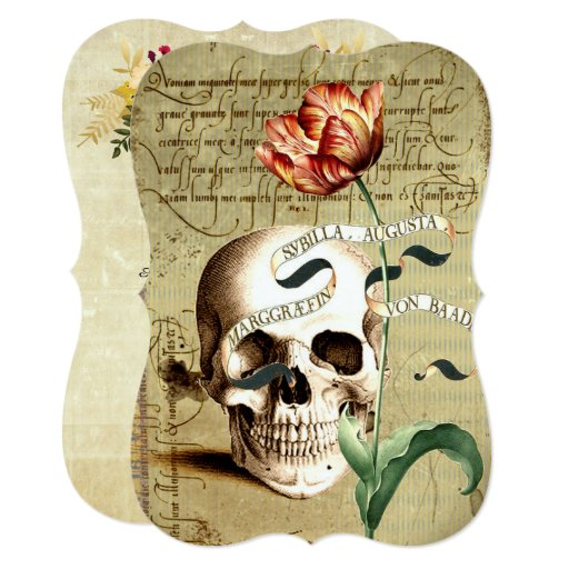 Steampunk Skull Floral Halloween Invitations