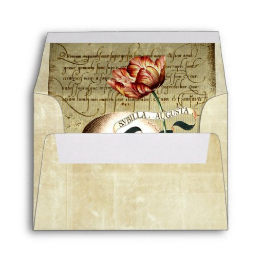 Steampunk Skull Floral Writing A2 Note Envelope