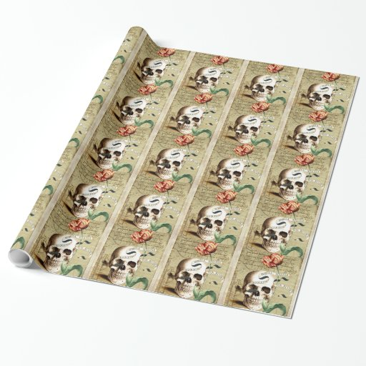 Steampunk Skull Floral Writing Hall Wrapping Paper