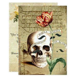 "Steampunk Skull Floral Writing Halloween 3.5"" x 5"" Card"