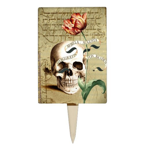 Steampunk Skull Floral Writing Halloween Cakepick
