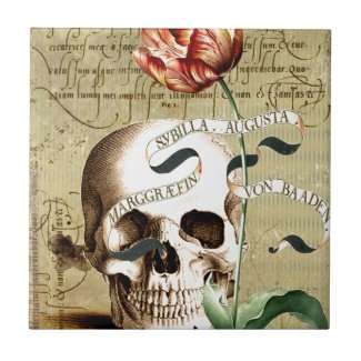 Steampunk Skull Floral Writing Halloween Ceramic Tile