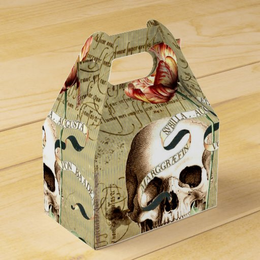 Steampunk Skull Floral Writing Halloween Favor Box