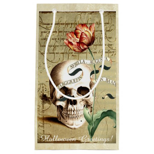 Steampunk Skull Floral Writing Halloween Gift Bag