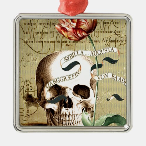 Steampunk Skull Floral Writing Halloween Metal Ornament
