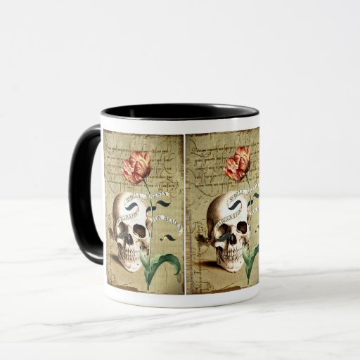 Steampunk Skull Floral Writing Halloween Mug