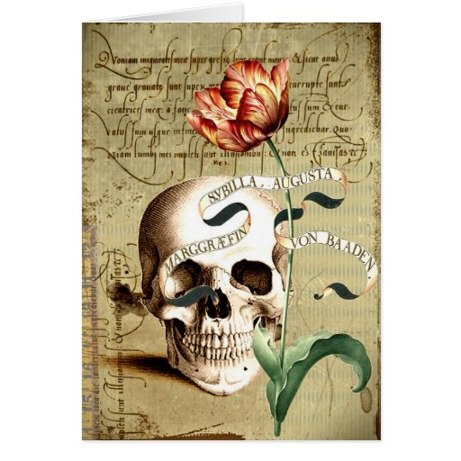 Steampunk Skull Floral Writing Halloween Note Card