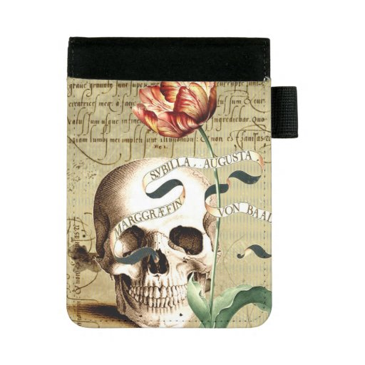 Steampunk Skull Floral Writing Halloween Padfolio