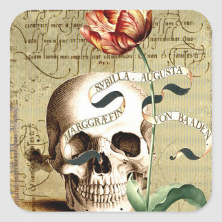 Steampunk Skull Floral Writing Halloween Stickers