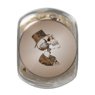 Steampunk Skull Glass Jar