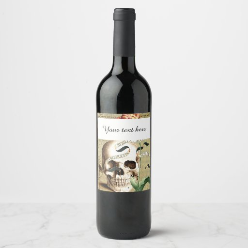Steampunk Skull Halloween Wine Bottle Label