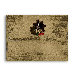 Steampunk Skull Roses Gothic Wedding Envelope