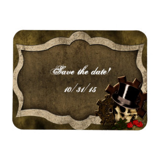 Steampunk Skull Roses Gothic Wedding Magnet