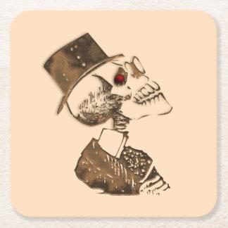 Steampunk Skull Square Paper Coaster