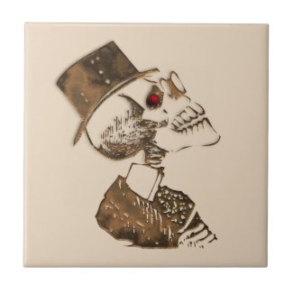 Steampunk Skull Tan Ceramic Tile