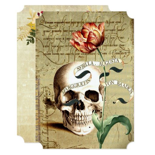 Steampunk Skull Vintage Halloween Invitations