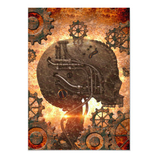 Steampunk Skull with gears made of rusty metal Card