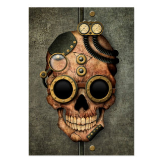 Steampunk Skull with Goggles - Steel Effect Business Card Templates