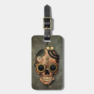 Steampunk Skull with Goggles - Steel Effect Bag Tags