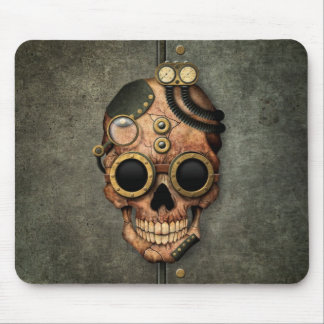 Steampunk Skull with Goggles - Steel Effect Mousepad