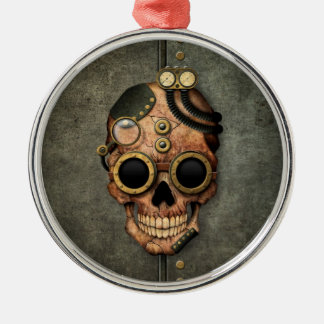 Steampunk Skull with Goggles - Steel Effect Christmas Tree Ornament