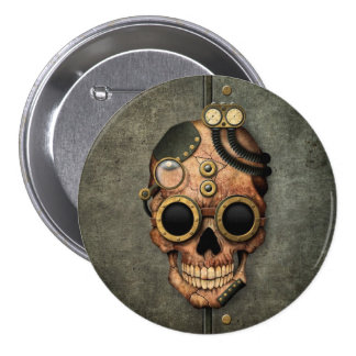 Steampunk Skull with Goggles - Steel Effect Pinback Button
