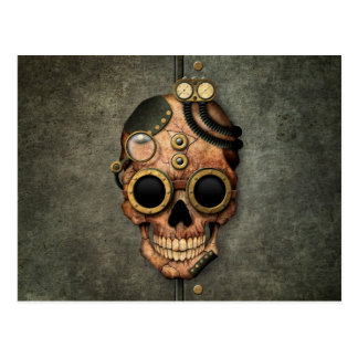 Steampunk Skull with Goggles - Steel Effect Postcard