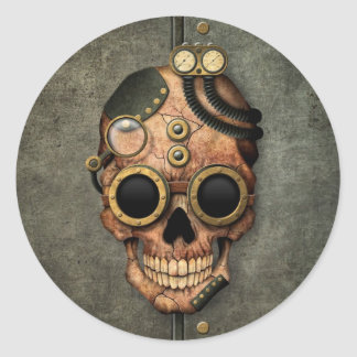 Steampunk Skull with Goggles - Steel Effect Classic Round Sticker