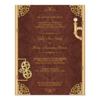 Steampunk Small Rectangular Invitation