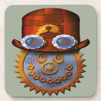 steampunk smiley beverage coaster